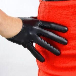 Faux leather vegan fetish gloves finger lingerie